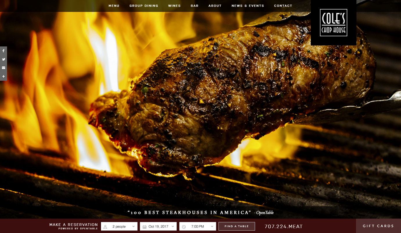 Welcome Coles Chop House Classic American Steakhouse Napa - Open table st helena