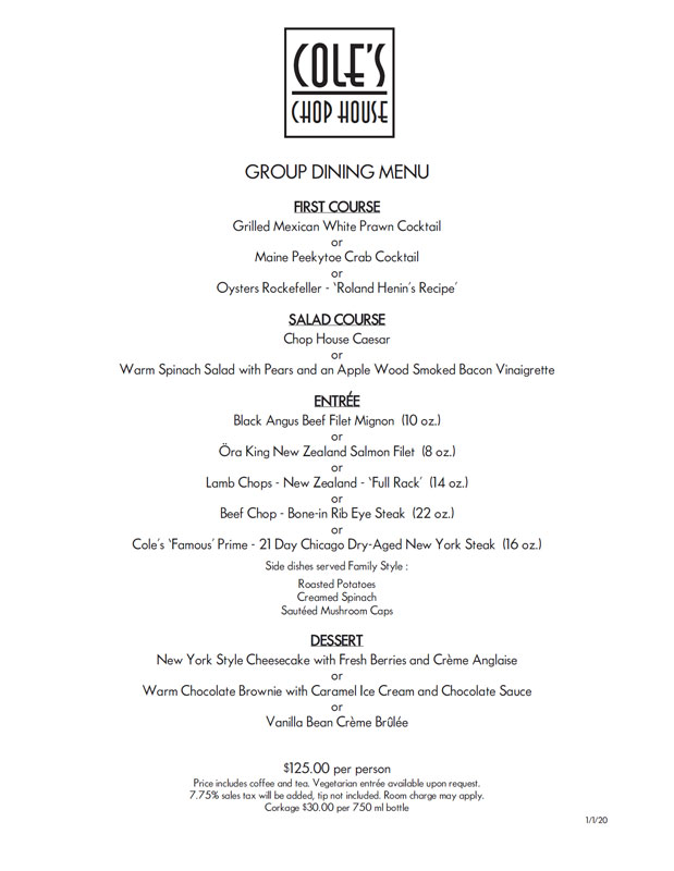 $125 Group Dining Menu